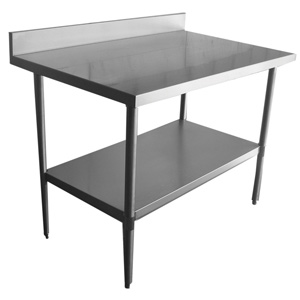 stainless steel work table with backsplash undershelf and